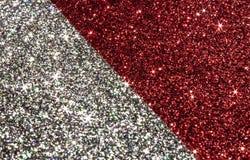 Красный цвет рождества и серебряная предпосылка стоковое фото