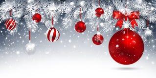 красный цвет рождества карточки шариков Стоковое Изображение