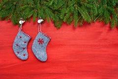 красный цвет рождества предпосылки Ель рождества и носки рождества на красной деревянной предпосылке Стоковое Изображение