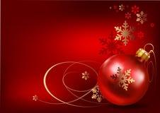 красный цвет рождества шарика предпосылки Стоковая Фотография