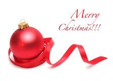 красный цвет рождества шарика Стоковые Фото