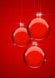 красный цвет рождества шарика Бесплатная Иллюстрация