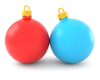 красный цвет рождества шариков голубой Стоковая Фотография