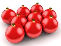 красный цвет рождества шариков иллюстрация штока
