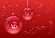 красный цвет рождества шариков Стоковое Изображение