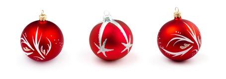 красный цвет рождества baubles шариков изолированный собранием Стоковая Фотография RF