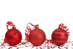 красный цвет рождества baubles стоковое изображение