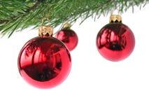 красный цвет рождества baubles стоковое фото rf