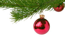 красный цвет рождества baubles стоковое фото