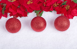 красный цвет 3 рождества шариков Стоковое Фото