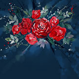 Красный цвет розы букетов цветка картины акварели Стоковое Изображение RF