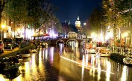 красный цвет света заречья amsterdam Стоковое Изображение