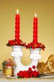 красный цвет свечки Стоковые Фото