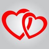 красный цвет 2 сердец стоковые изображения rf