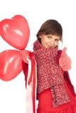 красный цвет сердца девушки воздушного шара Стоковое Изображение