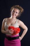 красный цвет сердца девушки Стоковое фото RF