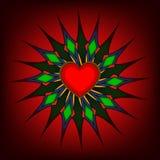 Красный цвет сердца дня ` s валентинки на красной предпосылке Стоковое Фото