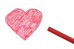 красный цвет сердца мелка Стоковое Изображение RF