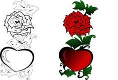 красный цвет сердца поднял Стоковая Фотография