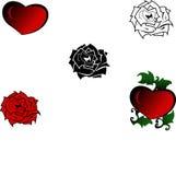 красный цвет сердца поднял Стоковое фото RF