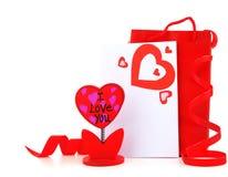 красный цвет сердца пустой карточки Стоковое Изображение