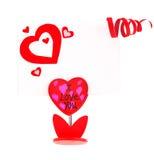 красный цвет сердца пустой карточки Стоковое Изображение RF