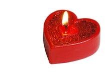красный цвет сердца свечки Стоковые Фото