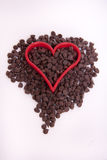 красный цвет сердца шоколада обломока Стоковая Фотография
