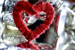 Красный цвет серебра формы сердца Стоковая Фотография RF