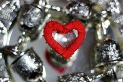 Красный цвет серебра формы сердца Стоковые Изображения RF