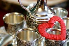 Красный цвет серебра формы сердца Стоковая Фотография