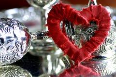 Красный цвет серебра формы сердца Стоковое Изображение RF