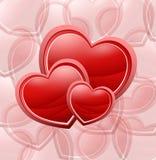 красный цвет 3 сердец Стоковые Изображения