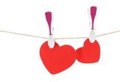 красный цвет 2 сердец Стоковые Фото