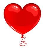 красный цвет сердца воздушного шара Стоковые Изображения