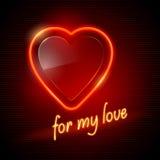 красный цвет сердца неоновый Стоковое Изображение