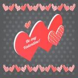 красный цвет сердца предпосылки черный Открытка дня валентинки вектора Стоковое Фото