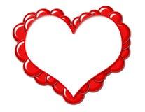 красный цвет сердца рамки пузырей Стоковая Фотография RF