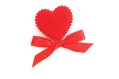 красный цвет сердца смычка Стоковое Изображение