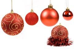красный цвет собрания рождества шариков Стоковые Фото