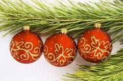 красный цвет сосенки ветви 2 шариков Стоковое Изображение RF