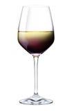 Красный цвет, вишня, и белое вино в одиночном стекле Стоковое фото RF