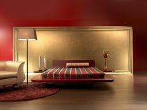 красный цвет спальни кожаный роскошный Стоковая Фотография