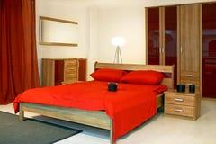 красный цвет спальни Стоковая Фотография RF
