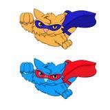 Красный цвет супер кота голубой Иллюстрация штока