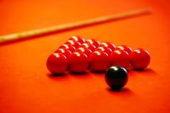 красный цвет ткани биллиарда шариков Стоковые Фото