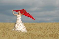 красный цвет ткани невесты счастливый Стоковые Изображения RF