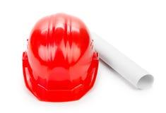 красный цвет трудного шлема Стоковая Фотография