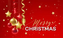 красный цвет украшения рождества золотистый также вектор иллюстрации притяжки corel Бесплатная Иллюстрация