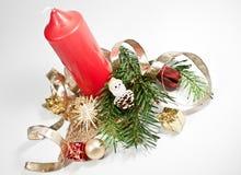 красный цвет украшения рождества свечки Стоковое фото RF